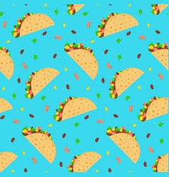 cute cartoon pattern with mexican tacos vector image