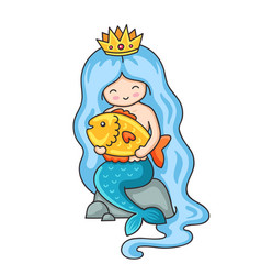Cute little mermaid with big golden fish vector