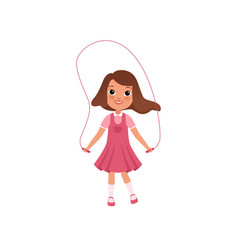Cute preschooler girl jumping with skipping rope vector