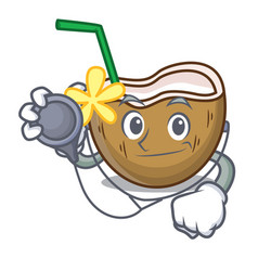 doctor cocktail coconut character cartoon vector image