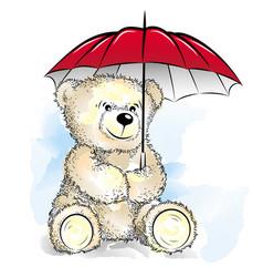 drawing teddy bear with umbrella vector image