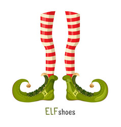 Elf green shoes and striped red leggings on thin vector