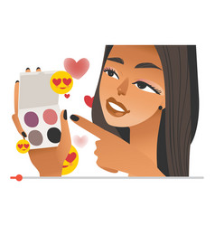 Female beauty vlogger with eye shadows in hands on vector