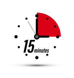 Fifteen minutes analogue clock symbol - 15 minute vector