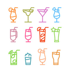 Flat icon design cocktails icons isolated vector