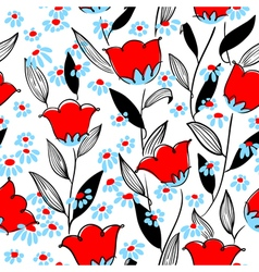floral seamless pattern in doodle style vector image