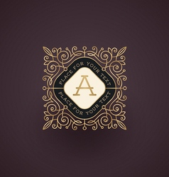Flourishes vintage frame with monogram vector