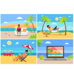 Freelance work and summer rest on sunny sea side vector