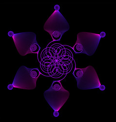 Geometric flower on a black background color vector