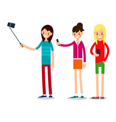 girl selfie friends do joint self-portrait vector image