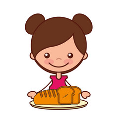 girl with bread food on dish vector image