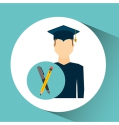 Graduate student man writing vector