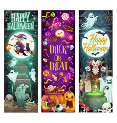 Halloween trick or treat cartoon witch monsters vector