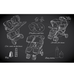 hand drawn set for twins Graphic sketch strollers vector image