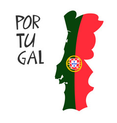 Hand drawn stylized map portugal with flag vector