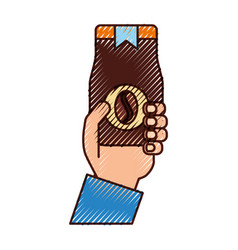 Hand human with coffee toast bag icon vector