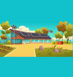 house with solar panels and sorting litter bins vector image