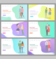 how to build happy relationship man and woman set vector image