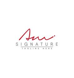 Initial letter am logo - hand drawn signature logo vector