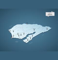 isometric 3d senegal map concept vector image