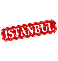 Istanbul red square grunge retro style sign vector