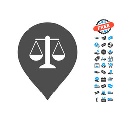 Justice weight marker icon with free bonus vector