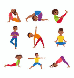 Kids exercise poses and yoga asana set vector