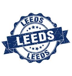 Leeds round ribbon seal vector