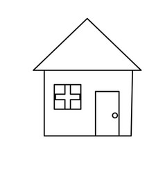 Line nice house with architecture design icon vector
