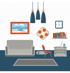 Modern interior living room design with furniture vector