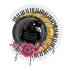 music design with crow and moon vector image