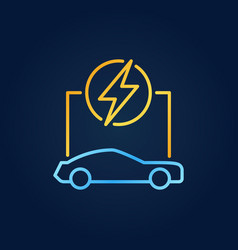 outline electric car colorful icon on dark vector image
