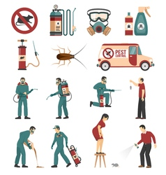 Pest Control Service Flat Icons Collection vector