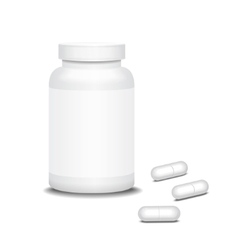 Pill medicine bottle and capsule vector image
