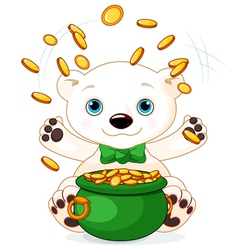 Polar Bear juggles gold coins vector image