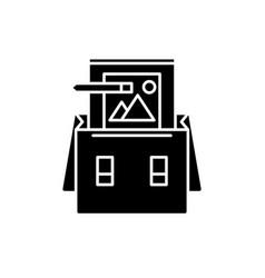 portfolio black icon sign on isolated vector image