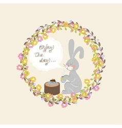 Rabbit with a mug of tea vector