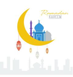 ramadan kareem concept muslim mosque with vector image