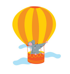 Rat in air balloon vector