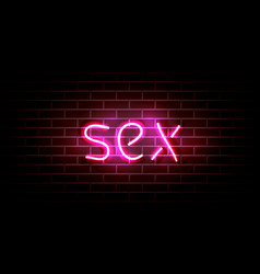 realistic neon pink light sign decoration on the vector image