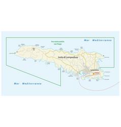 Road map italian island lampedusa vector