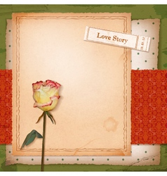 Scrapbook old paper background with dried rose vector image vector image