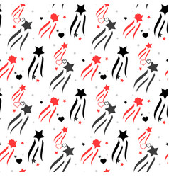 seamless pattern with red hearts and black stars vector image