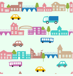 seamless pattern with small cars and houses vector image