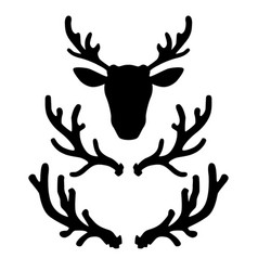 set deer horns design element for logo label vector image