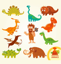 set funny prehistoric animals cartoon character vector image