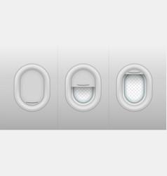 set isolated realistic porthole or plane window vector image