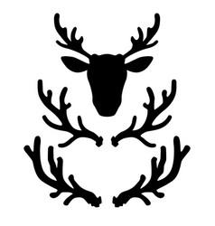 set of deer horns design element for logo label vector image