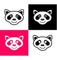 set raccoon icons in simple flat design vector image