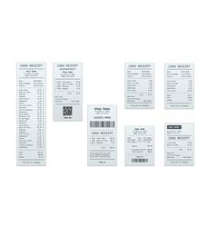 set receipt records design template bill vector image